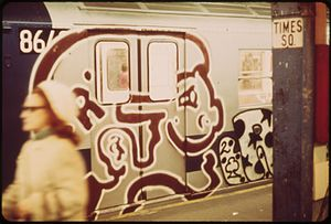 R29/R99 (New York City Subway car) - A graffiti-covered R29/R99 at Times Square-42nd Street Subway Station in May 1973.