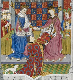 John Talbot, 1st Earl of Shrewsbury - Detail of illuminated miniature from the Talbot Shrewsbury Book showing Talbot, with his dog, presenting the book to Margaret of Anjou and Henry VI, 1445