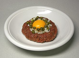 Raw foodism - Steak tartare with raw egg, capers and onions