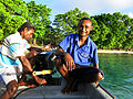Ted Blessing Makaa, APTC tourism graduate, Wogasia Tour Guide on the boat towards Santa Catalina. (10728699624).jpg
