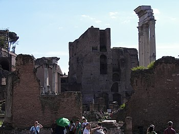 Forum Romanum in Rome. Columns of the Temple o...