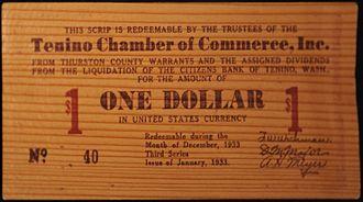 Tenino, Washington - Tenino wooden money, issued during the Great Depression.