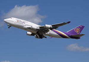 Thai Airways Boeing 747-400 (HS-TGA) departs London Heathrow 11Apr2015 arp.jpg