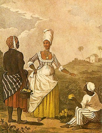 """Agostino Brunias - An engraving after an oil painting of Agostino Brunias titled """"Barbados Mulatto Girl""""."""
