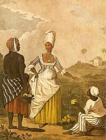 An engraving after an oil painting of Agostino Brunias titled Barbados Mulatto Girl. The Barbadoes Mulatto Girl.jpg