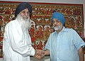 The Chief Minister of Punjab, Shri Parkash Singh Badal meeting the Deputy Chairman, Planning Commission, Shri Montek Singh Ahluwalia to finalize Annual Plan 2009-10 of the State, in New Delhi on June 26, 2009.jpg