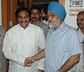 The Chief Minister of Uttrakhand, Shri Ramesh Pokhriyal meeting the Deputy Chairman, Planning Commission, Shri Montek Singh Ahluwalia to finalize Annual Plan 2009-10 of the State, in New Delhi on August 31, 2009.jpg