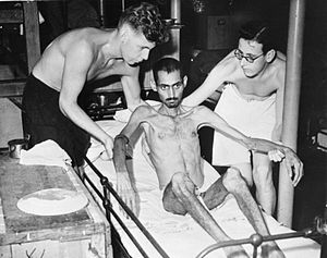 India in World War II - An Indian prisoner of war from Hong Kong after liberation in 1945