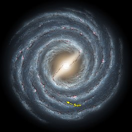 This is an artist's rendering showing the galaxyMilky Wayand its central bar as it might appear if viewed from above. OurSunis indicated here.