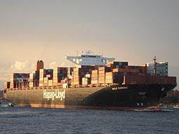 The German Container Vessel Basle Express is approaching port of Hamburg