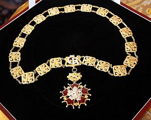 Order of the White Lion - The collar of the Order of the White Lion awarded to Lech Kaczynski, the President of the Republic of Poland