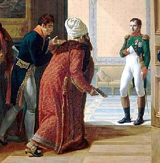 "Dragoman - Amédée Jaubert (left) was Napoleon's ""favourite orientalist adviser and dragoman"". He accompanied the Persian envoy Mirza Mohammed Reza Qazvini at Finckenstein Palace to meet with Napoleon on 27 April 1807 for the Treaty of Finckenstein. Detail of a painting by François Mulard."