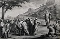 The Phillip Medhurst Picture Torah 465. Moses descends with the tables of the Law. Exodus cap 34 vv 29-30. Mortier.jpg