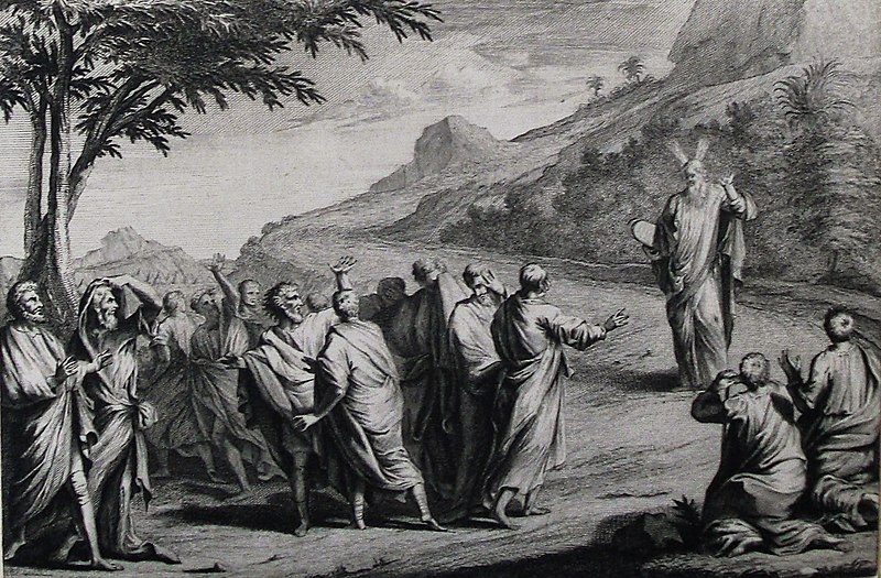 File:The Phillip Medhurst Picture Torah 465. Moses descends with the tables of the Law. Exodus cap 34 vv 29-30. Mortier.jpg