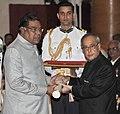The President, Shri Pranab Mukherjee presenting the Padma Shri Award to Shri Kota Srinivasa Rao, at a Civil Investiture Ceremony, at Rashtrapati Bhavan, in New Delhi on April 08, 2015.jpg
