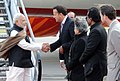 The Prime Minister, Shri Narendra Modi being received by the Health Minister of Ireland, Mr. Leo Varadkar, on his arrival at the Dublin airport, Ireland on September 23, 2015.jpg