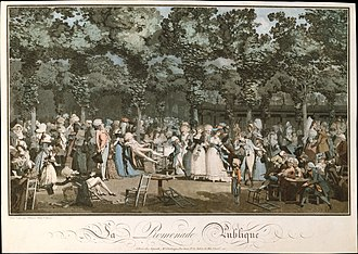Aquatint - Philibert-Louis Debucourt, The Public Promenade, 1792. Printed in colour from various plates, using etching, engraving, and aquatint.  One of the leading achievements of the French 18th-century colour-print.