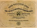 The Queen's Hospital Corporation, life membership certificate, c. 1873 (cropped).jpg