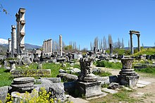 Some columns are still standing among the ruins of Aphrodisias. A snow-capped mountain can be seen in the background.