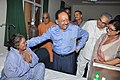 The Union Minister for Health and Family Welfare, Dr. Harsh Vardhan interacting with the patients, at AIIMS Patna, in Bihar on June 21, 2014. The Director of AIIMS Patna, Dr. G.K. Singh is also seen.jpg