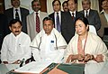 The Union Minister of Railways, Mamata Banerjee giving finishing touches to the Railway Budget 2011-12, in New Delhi on February 24, 2011 (1).jpg