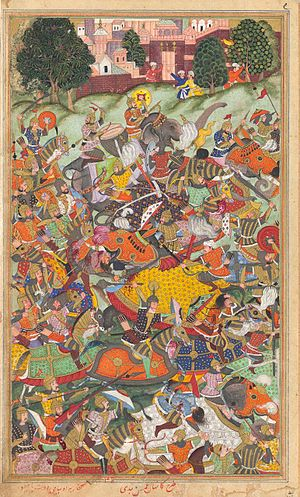 Second Battle of Panipat - Image: The defeat of Hemu, Akbarnama
