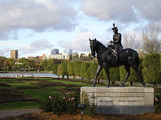 Statue of Elizabeth II riding Burmese