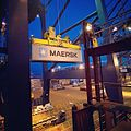 The very first Daily Maersk container as it arrived in Felixstowe, UK last year (8300934484).jpg