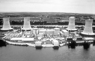 Three Mile Island Nuclear Generating Station - Unit 2 during its time in operation, viewed from the west