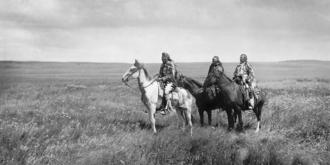 Piegan Blackfeet - The three chiefs Piegan, by Edward S. Curtis