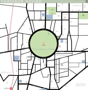 Swaraj Round, Thrissur - Schematic map of Swaraj round, Thrissur