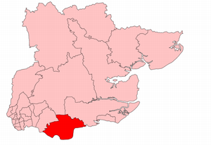 Thurrock (UK Parliament constituency) - Thurrock in Essex, showing boundaries used from 1945 to 1950.