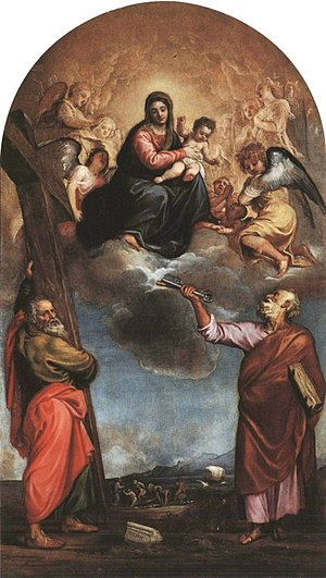 Madonna with Child in glory and with Saints Andrew and Peter