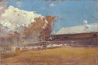 The Golden Fleece (painting) - Roberts' painting Shearing shed, Newstead shows the exterior of the shed depicted in The Golden Fleece.