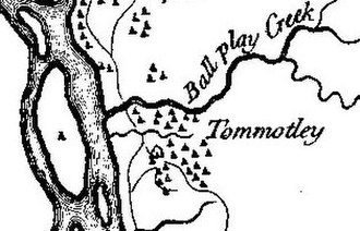 "Tomotley - Tomotley on Henry Timberlake's 1762 ""Draught of the Cherokee Country"""