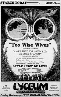 <i>Too Wise Wives</i> 1921 film by Lois Weber