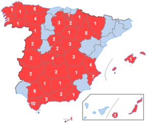Osborne bull - Number of Bulls per Spanish province