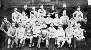 Tottenham Hotspur F.C. - Spurs' first and second teams in 1885.  Club president John Ripsher top row second right, team captain Jack Jull middle row fourth left, Robert Buckle bottom row second left