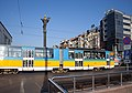 Tram in Sofia near Sofia statue 2012 PD 039.jpg