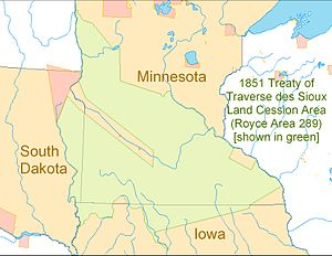 Treaty of Traverse des Sioux - Treaty of Traverse des Sioux land cession area shown in green across northern Iowa, southern Minnesota and eastern South Dakota.