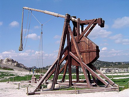 Medieval trebuchets could sling about two projectiles per hour at enemy positions. Trebuchet.jpg