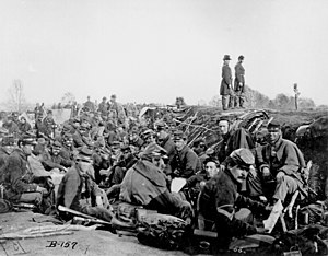United States Civil War: Union Army Soldiers of 6th Corps, Army of the Potomac, in trenches before storming Marye's Heights at the 2nd Battle of Fredericksburg during the Chancellorsville campaign, Virginia, May 1863.