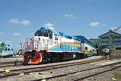 Tri-Rail EMD GP49 engine 813 in Hialeah Railyard.jpg