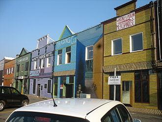 Downtown Whitehorse, Yukon - Storefronts on Elliott Street. The street is a major east-west thoroughfare in Downtown Whitehorse.