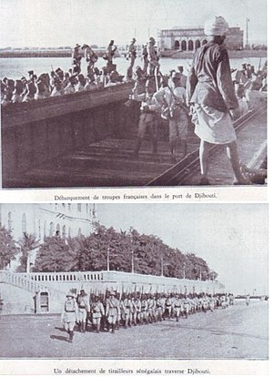 French Somaliland in World War II - Landing of French troops in Djibouti in 1935