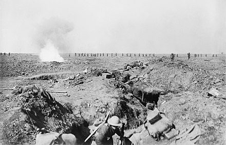 British troops advancing at the Battle of Ginchy, 9 September 1916. Troops advance Battle of Ginchy 09-09-1916 IWM Q 1302.jpg