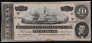 English: Twenty dollar bill, currency issued b...