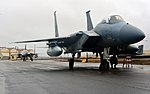 Two F-15C Eagle fighter aircraft with the 871st Air Expeditionary Squadron arrive at Keflavik International Airport, Iceland as part of Icelandic Air Surveillance and Policing operations April 13, 2015.jpg