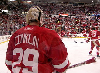 Ty Conklin - Conklin backing up for the Red Wings, 2009 Stanley Cup Finals Game 5.