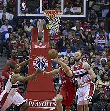 1dbf73e70d74 Hansbrough with the Raptors in April 2015